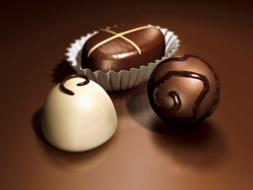 3D Assorted Chocolate Food Product Illustration