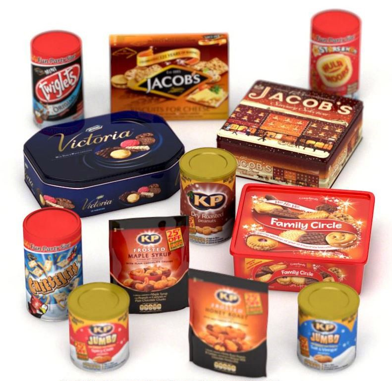 3D Assorted Snack Product Packaging Advertising Illustration