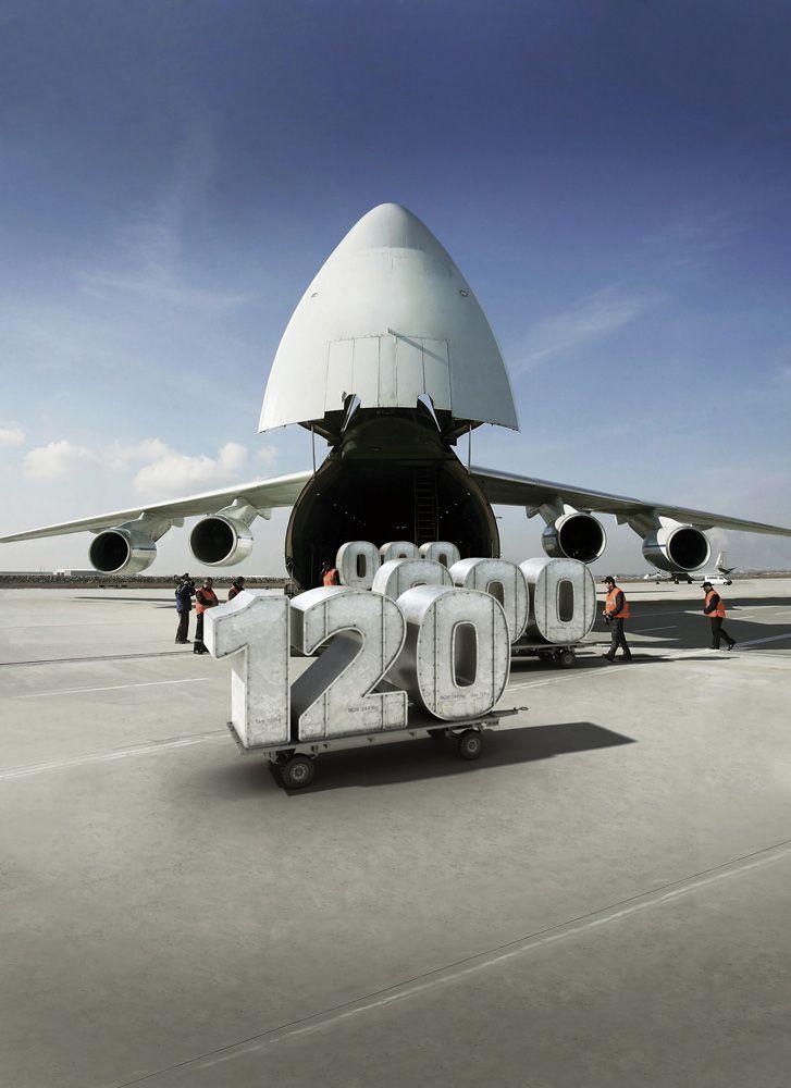 3D BES Number Logo Aircraft Advertising Illustration