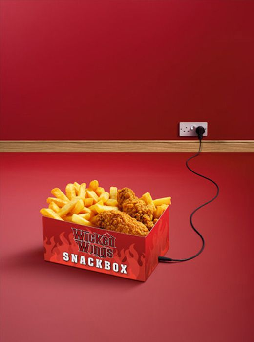 3D Food Wicked Wings Chicken and Chips Advertising Illustration