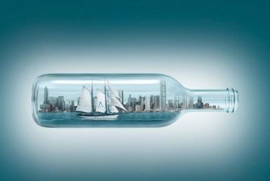 3D Glass City Ship in a Bottle Advertising Illustration