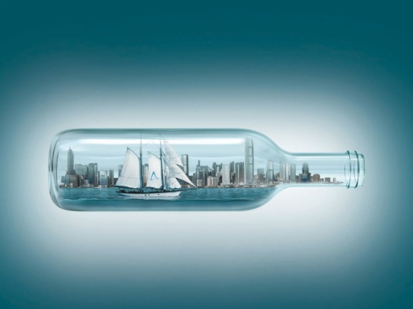 3D Glass City Ship in a Bottle Advertising Illustration