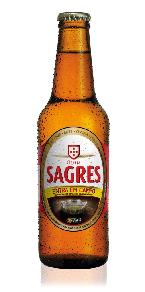 3D Liquid Drink Sagres Glass Lager Bottle Product Illustration