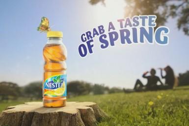 3D Liquids and Bottles Nestea Lemon tea Product Advertising Illustration