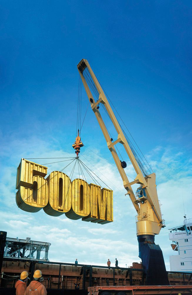 3D Numbers and Crane Advertising Illustration