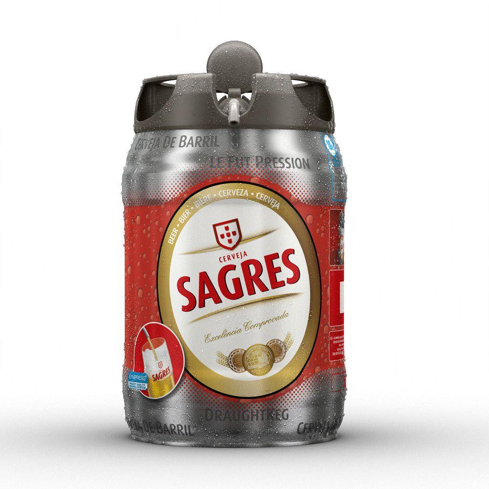3D Sagres Drink Barrel Lager Keg Product Illustration