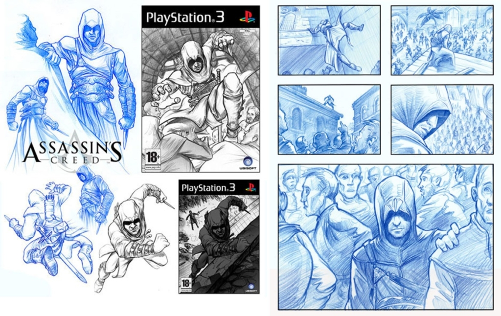 2D Assassins Creed Character Storyboard Illustration