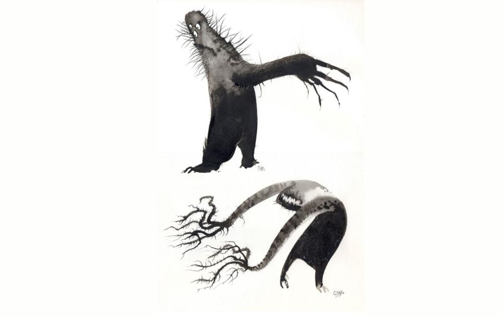 2D Creepy Tree Character Illustration