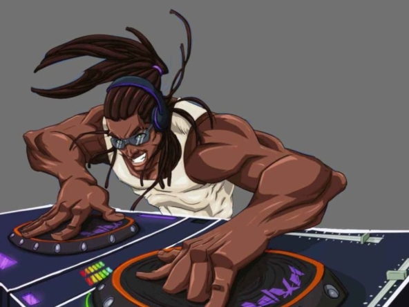 2D DJ Afro Character Illustration Profile