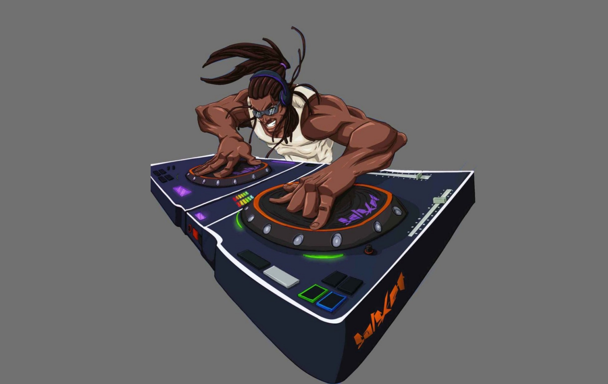2D DJ Afro Character Illustration