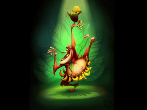 2D Dancing Orangutan Character Illustration