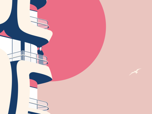 Looking out from the balcony 2D Vector Illustration