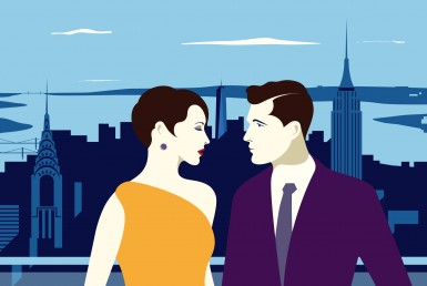 Happy Couple 2D Vector Illustration