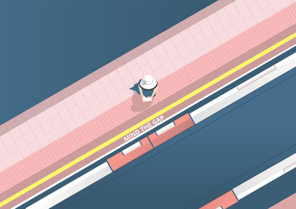 Waiting for the train 2D Vector Illustration
