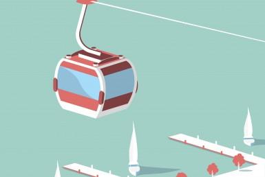 Ski Lift Descent 2D Vector Illustration