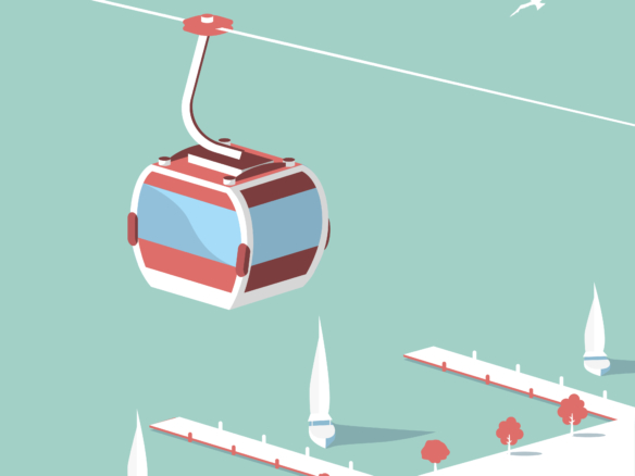 Ski Lift Descent 2D Vector Illustration