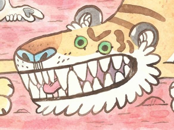 2D Bendy Tiger Cartoon Illustration