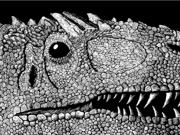 2D Black and White Allosaurus Dinosaur Illustration