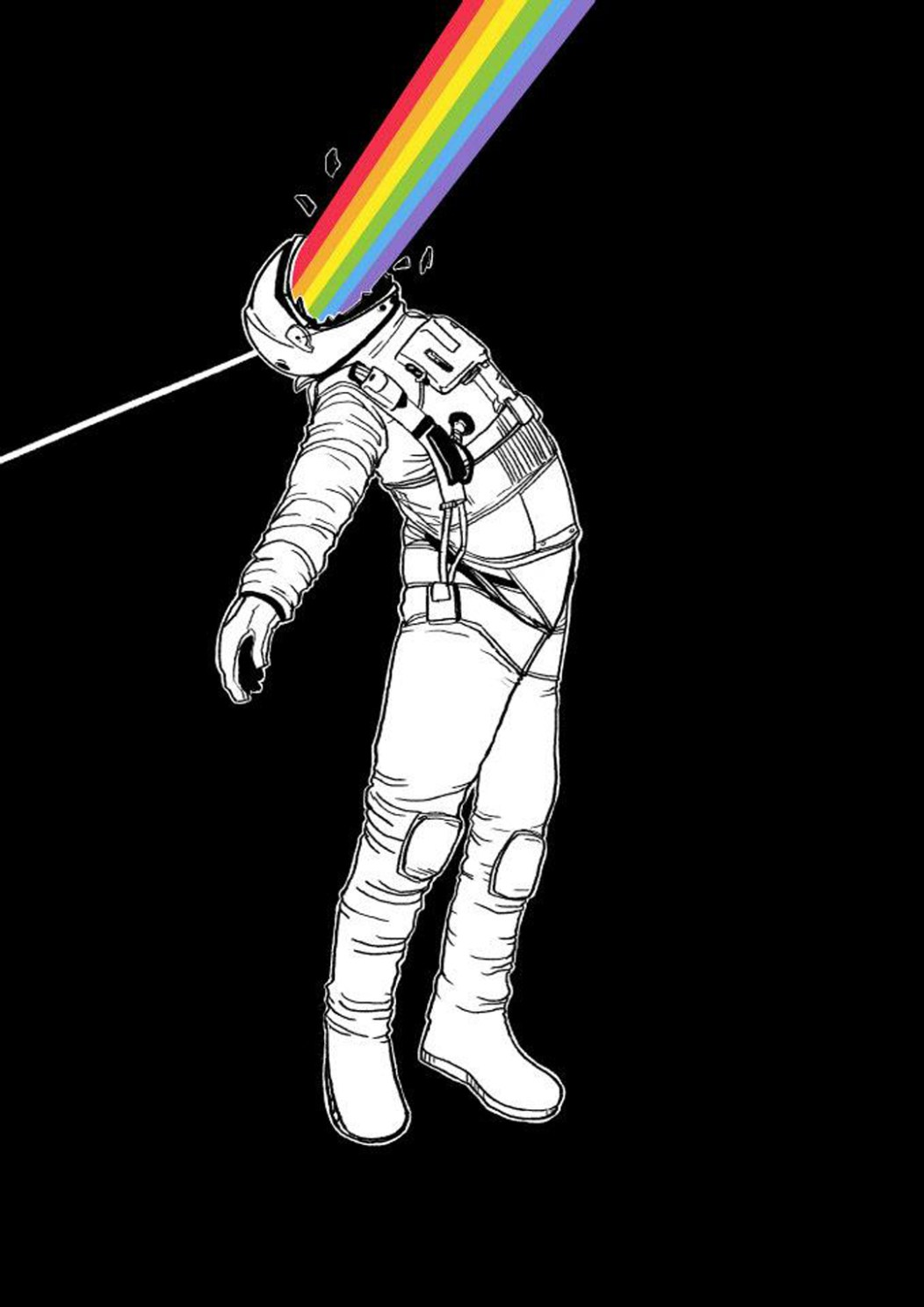 2D Black and White Astronaut Illustration