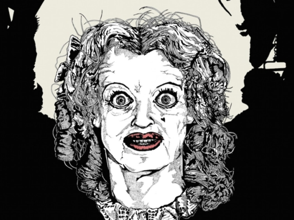 2D Black and White Baby Jane Horror Film Character Illustration