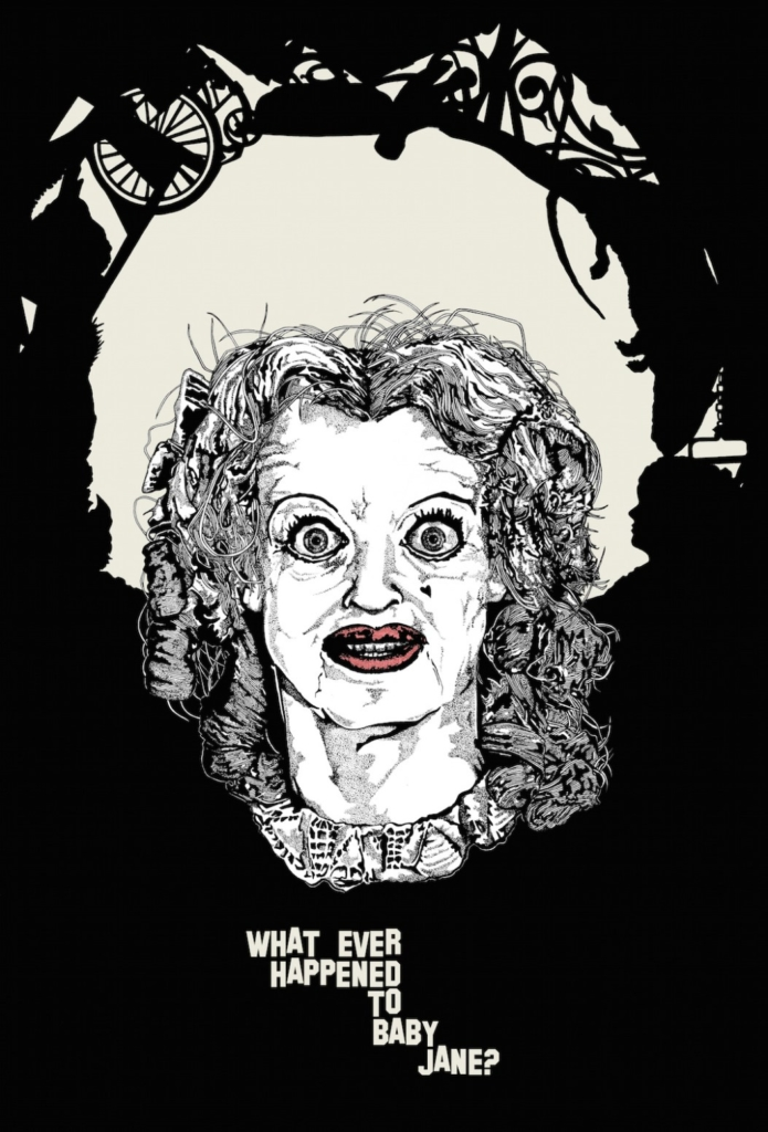 2D Black and White Baby Jane Horror Film Character Illustration