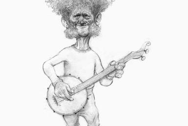 2D Black and White Banjo Player Illustration