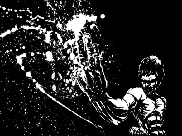 2D Black and White Bruce Lee Illustration