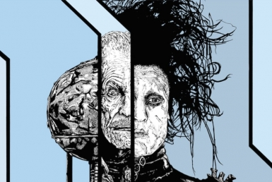 2D Black and White Edward Scissorhands Illustration