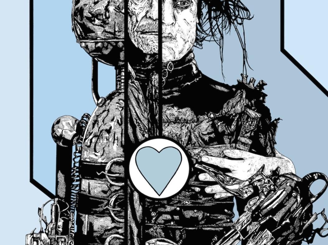 2D Black and White Edward Scissorhands Illustration