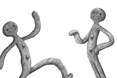 2D Black and White Gingerbread Man Illustration