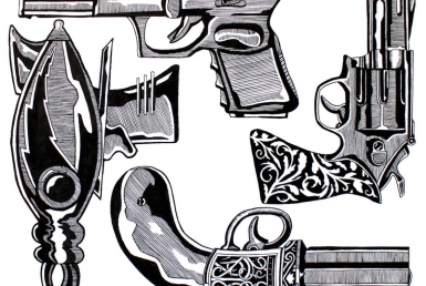 2D Black and White Gun Illustration