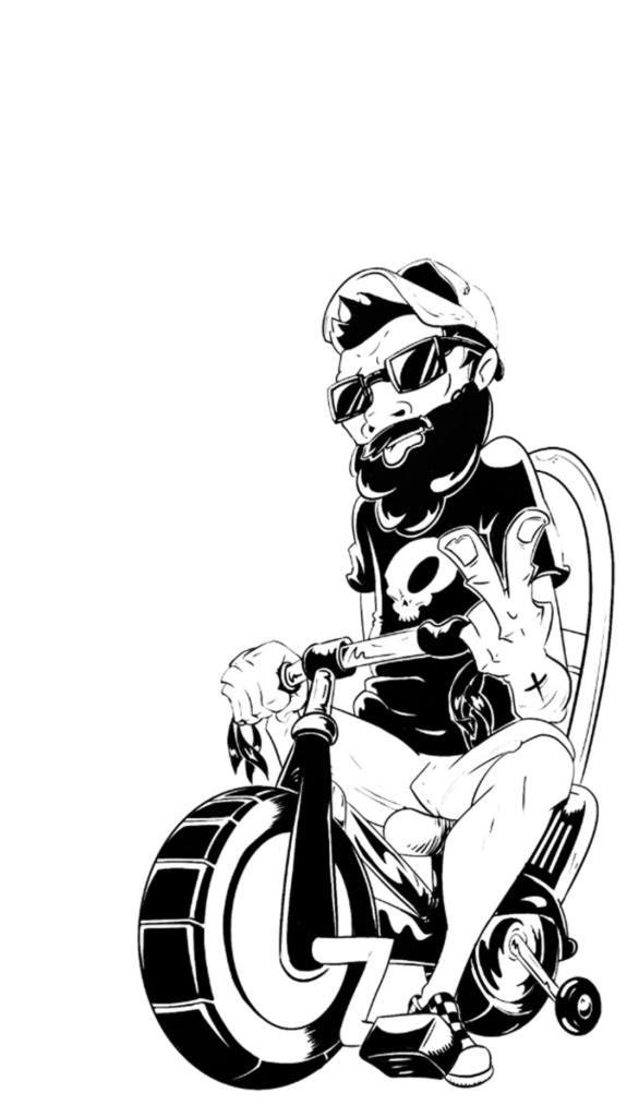 2D Black and White Lashing Fred Illustration