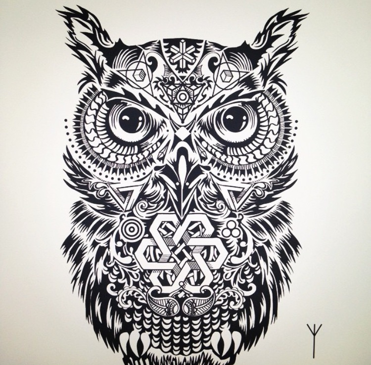 2D Black and White Owl Illustration