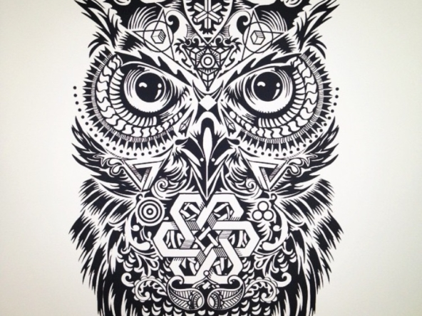 2D Black and White Owl Illustration