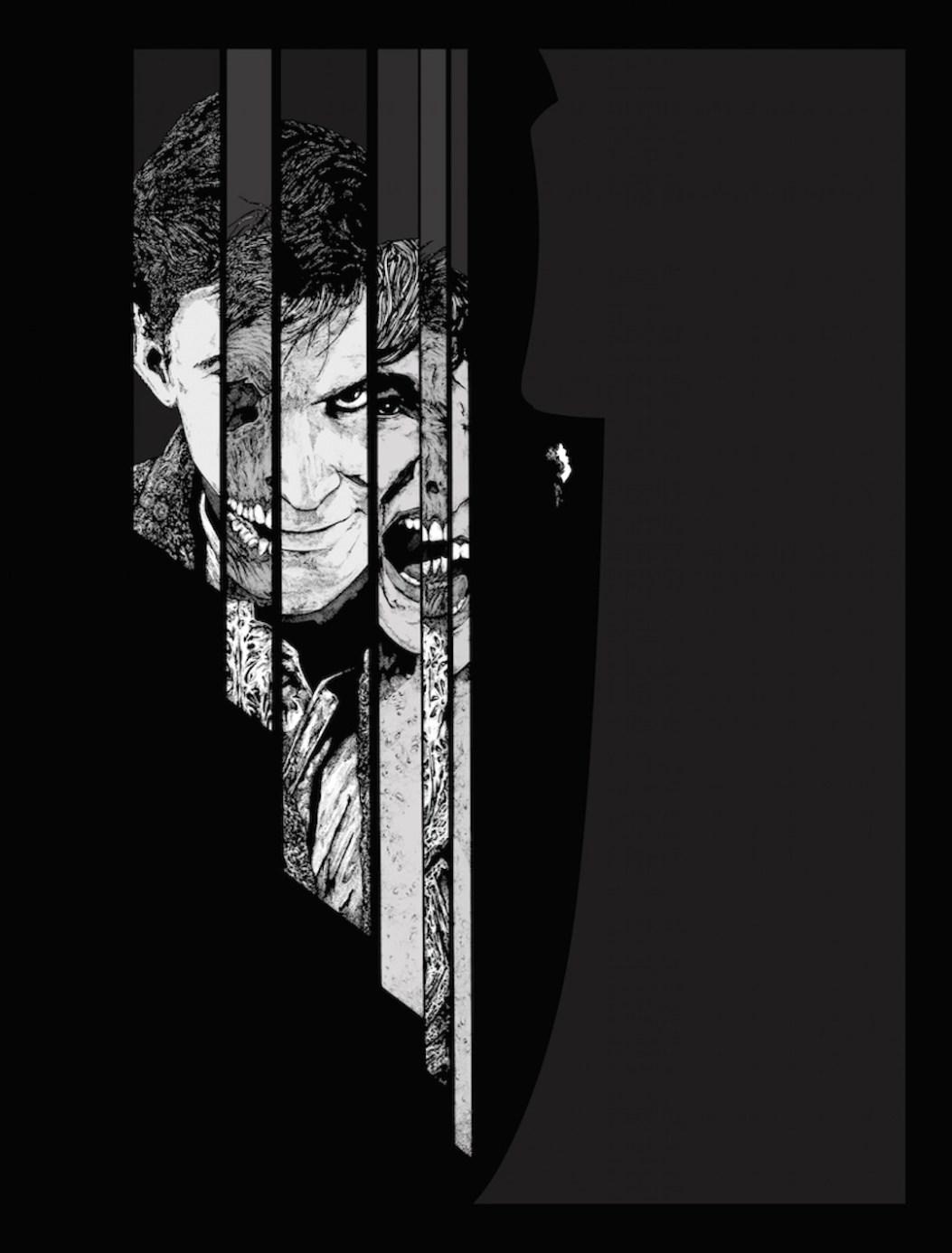 2D Black and White Psycho Illustration