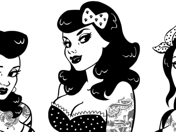 2D Black and White Rockabilly Girls Illustration