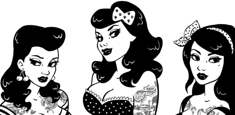 2D Black and White Rockabilly Girls Illustration