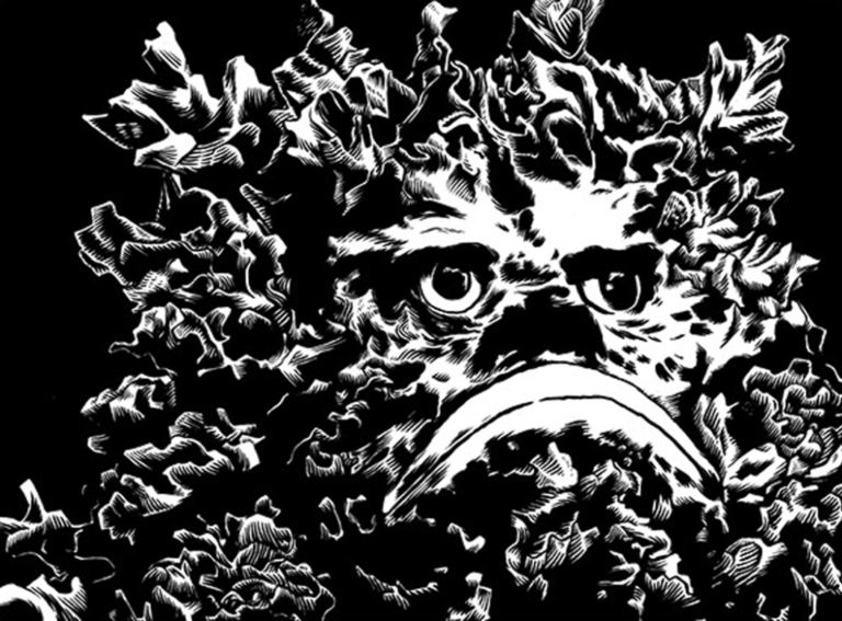 2D Black and White Seaweed Face Illustration