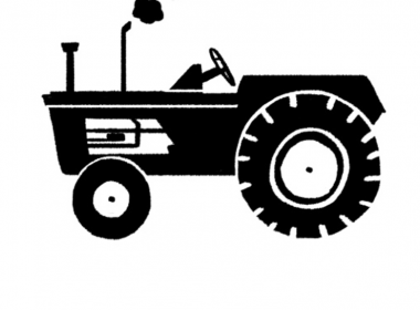 2D Black and White Tractor Illustration