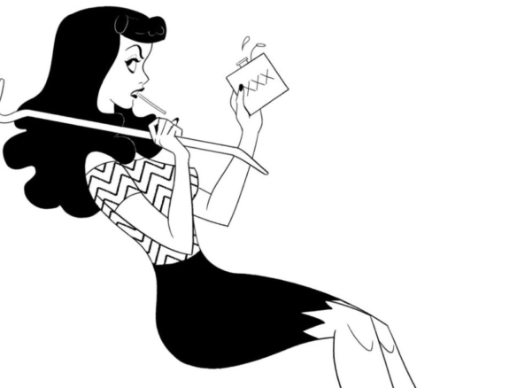 2D Black and White Woman Pin Up Suzie Illustration