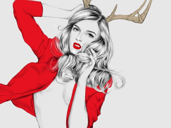 2D Female Christmas Outfit Fashion Illustration