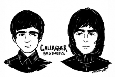 2D Gallagher Brothers Black and White Illustration