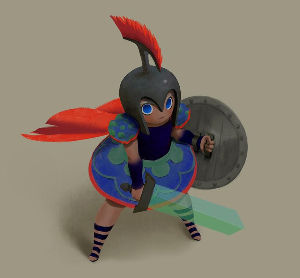2D Gladiator Character Illustration