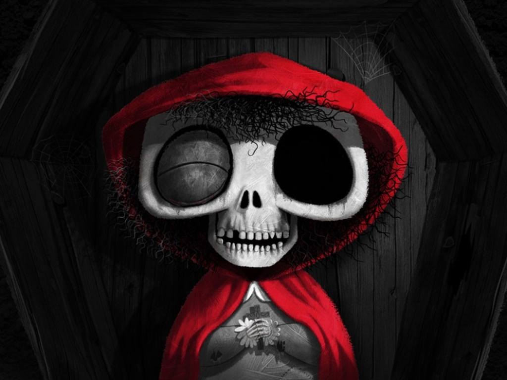 2D Little Dead Riding Hood Cartoon Illustration