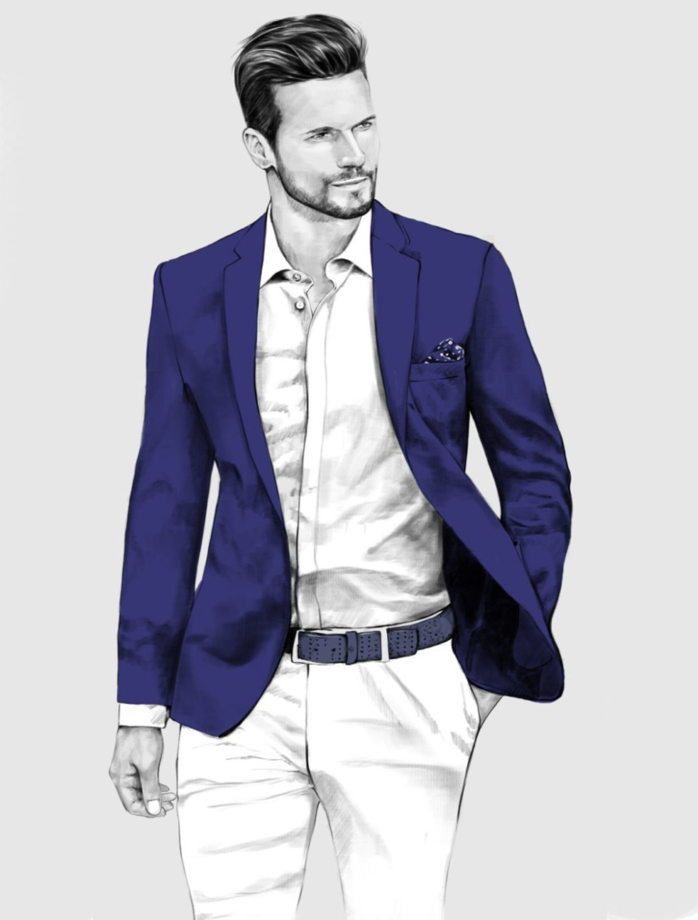 2D Male Jacket Model Fashion Illustration