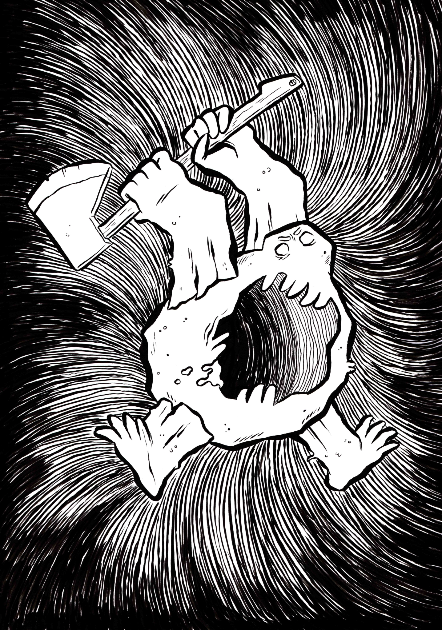 2D Rock Monster Black and White Illustration