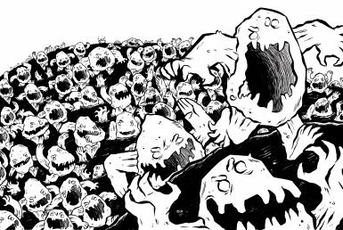 2D Rock Monster Hoard Black and White Illustration