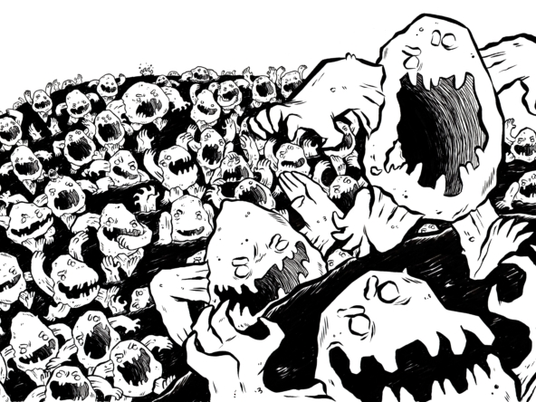 2D Rock Monster Hoard Black and White Illustration