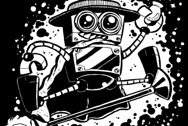 2D Wand Wars Black and White Illustration