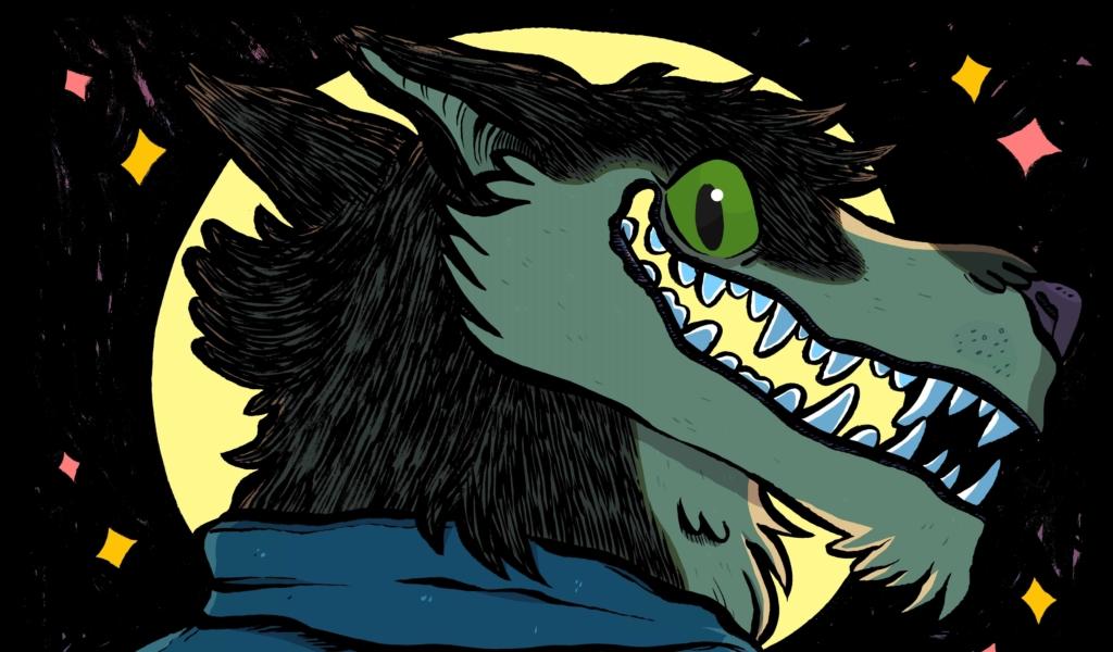 2D Werewolf Social Club Cartoon Illustration